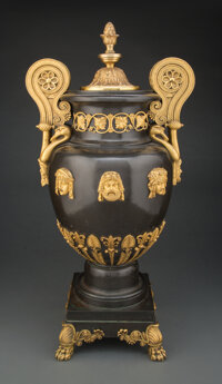 A Gilt Bronze Mounted Patinated Copper Two-Handled Vase by Alexis Decaix, Designed by Thomas Hope for his Duchess Street...