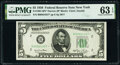 Small Size:Federal Reserve Notes, Fr. 1961-B* $5 1950 Narrow Federal Reserve Star Note. PMG Choice Uncirculated 63 EPQ.. ...