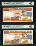 World Currency, Brunei Negara Brunei Darussalam 500 Ringgit 1989 Pick 18 KNB18 Two Examples PMG Gem Uncirculated 65 EPQ (2).. ... (Total: 2 notes)