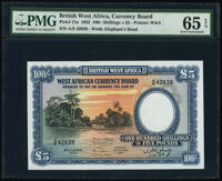 British West Africa West African Currency Board 100 Shillings = 5 Pounds 26.4.1954 Pick 11a PMG Gem Uncirculated 65 EPQ...