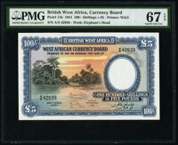 British West Africa West African Currency Board 100 Shillings = 5 Pounds 26.4.1954 Pick 11b PMG Superb Gem Unc 67 EPQ...