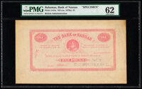 Bahamas Bank of Nassau 1 Pound ND (ca. 1870) Pick A4As Specimen PMG Uncirculated 62