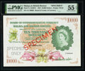 Malaya and British Borneo Board of Commissioners of Currency 10,000 Dollars 21.3.1953 Pick 7s KNB7S Specimen PMG About U...