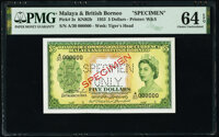 Malaya and British Borneo Board of Commissioners of Currency 5 Dollars 21.3.1953 Pick 2s KNB2b Specimen PMG Choice Uncir...