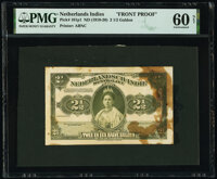 Netherlands Indies Government 2 1/2 Gulden ND (1919-20) Pick 101p1 Front Proof PMG Uncirculated 60 Net