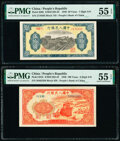 World Currency, China People's Bank of China 50; 100 Yuan 1949 Pick 829b; 831b Two Examples PMG About Uncirculated 55 EPQ (2).. ... (Total: 2 notes)