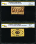 Fractional Currency:First Issue, Fr. 1282SP 25¢ First Issue Narrow Margin Pair PCGS Banknote Uncirculated 62 and Choice Unc 64. . ... (Total: 2 notes)
