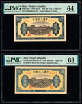 World Currency, China People's Bank of China 50 Yuan 1949 Pick 829b S/M#C282-35 Two Examples PMG Choice Uncirculated 64; Choice Uncirculat... (Total: 2 notes)