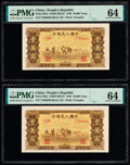 China People's Bank of China 10,000 Yuan 1949 Pick 853c S/M#C282-67 Two Examples PMG Choice Uncirculated 64 (2).<...
