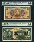 World Currency, China Central Bank of China 10; 50 Dollars 1923; 1926 Pick 176s; 184As Two Specimen PMG Gem Uncirculated 66 EPQ; Choic... (Total: 2 notes)