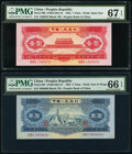 World Currency, China People's Bank of China 1; 2 Yuan 1953 Pick 866; 867 Two Examples PMG Superb Gem Unc 67 EPQ; Gem Uncirculated 66 EPQ.... (Total: 2 notes)
