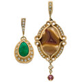 Estate Jewelry:Pendants and Lockets, Michael Von Krenner Emerald, Agate, Diamond, Spinel, Gold Pendants. ... (Total: 2 Items)