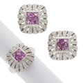 Estate Jewelry:Suites, Pink Sapphire, Diamond, White Gold Jewelry Suite. ... (Total: 2 Items)