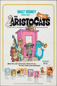"The Aristocats (Buena Vista, 1970). Folded, Very Fine-. One Sheet (27"" X 41"") Paul Wenzel Artwork. Animation..."