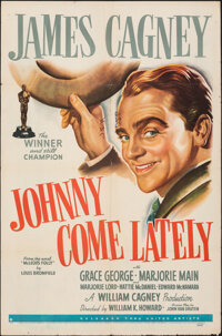 """Johnny Come Lately (United Artists, 1943). Folded, Fine/Very Fine. One Sheet (27"""" X 41""""). Drama"""