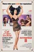 """Movie Posters:Drama, Cat on a Hot Tin Roof/Butterfield 8 Combo (MGM, R-1966). Folded, Fine/Very Fine. One Sheet (27"""" X 41"""") Tom Jung Artwork. Dra..."""