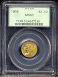 Indian Quarter Eagles: , 1908 $2 1/2 MS63 PCGS. The strike is as sharp as one ...