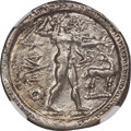 Ancients: BRUTTIUM. Caulonia. Early 5th century BC. AR stater or nomos (27mm, 7.47 gm, 12h). NGC Choice XF 5/5 - 2/5, br...