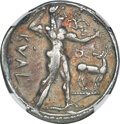 Ancients: BRUTTIUM. Caulonia. Late 6th century BC. AR stater or nomos (28mm, 7.30 gm, 12h). NGC VF 5/5 - 3/5