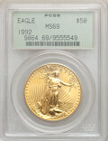 1992 $50 One-Ounce Gold Eagle MS69 PCGS. PCGS Population: (584/36). NGC Census: (1020/81). CDN: $1,843.36.Whsle. Bid for...