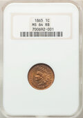 Indian Cents: , 1865 1C Fancy 5 MS64 Red and Brown NGC. NGC Census: (220/163). PCGS Population: (334/123). CDN: $370 Whsle. Bid for NGC/PCG...