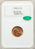 1910-S 1C MS65 Red NGC. CAC. NGC Census: (121/46). PCGS Population: (370/125). CDN: $450 Whsle. Bid for NGC/PCGS MS65. M...