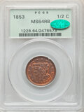 Half Cents: , 1853 1/2 C MS64 Red and Brown PCGS. CAC. PCGS Population: (31/9). CDN: $600 Whsle. Bid for NGC/PCGS MS64...