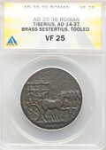 Ancients: Tiberius (AD 14-37). AE sestertius (34mm, 22.90 gm, 12h). ANACS VF 25, tooled