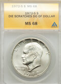 1972-S $1 Silver, Die Scratches in Do of Dollar, MS68 ANACS. Mintage 2,193,056....(PCGS# 7411)