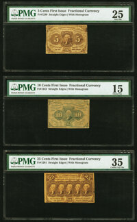 Fr. 1230 5¢ First Issue PMG Very Fine 25; Fr. 1242 10¢ First Issue PMG Choice Fine 15; Fr. 1281 2