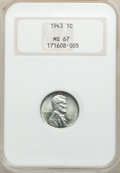 1943 1C MS67 NGC. NGC Census: (4256/63). PCGS Population: (1881/75). CDN: $130 Whsle. Bid for NGC/PCGS MS67. Mintage 684...