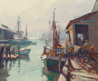 Emile Albert Gruppe (American, 1896-1978) Hauling The Nets Oil on canvas 25 x 30 inches (63.5 x 7