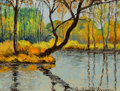 Paintings, Paulémile Pissarro (French, 1884-1972). La rivière. Oil on board. 10-5/8 x 13-3/4 inches (27.0 x 34.9 cm). Signed lower ...