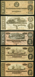 Confederate States of America – Collection of Five Back-Stamped Advertising and In Memoriam Notes on former Confederate...