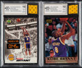 Basketball Cards:Singles (1980-Now), 1997 Score Board & Upper Deck Kobe Bryant BCCG 10 Mint or Better Pair (2) - With Swatches.... (Total: 2 items)