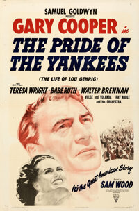 """The Pride of the Yankees (RKO, 1942). Folded, Very Fine+. One Sheet (27"""" X 41""""). From the Royal Theatre Collec..."""
