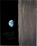 """Explorers:Space Exploration, Frank Borman Signed Large Apollo 8 """"Earthrise"""" Color Photo with Added Quote from the Christmas Eve Broadcast...."""