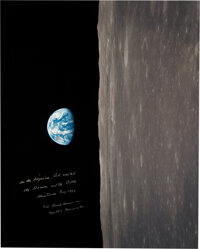 """Frank Borman Signed Large Apollo 8 """"Earthrise"""" Color Photo with Added Quote from the Christmas Eve Broadcast..."""