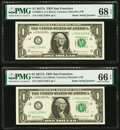 Small Size:Federal Reserve Notes, Radar Serial Numbers 04211240 and 05211240 Fr. 3005-L $1 2...