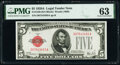 Small Size:Legal Tender Notes, Fr. 1526 $5 1928A Legal Tender Note. PMG Choice Uncirculated 63.. ...