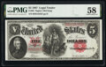 Fr. 85 $5 1907 Legal Tender PMG Choice About Unc 58