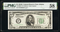 Fr. 1960-F $5 1934D Federal Reserve Note. PMG Choice About Unc 58