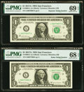 Radar Serial Number 06077060 and Repeater Serial Number 06070607 Fr. 3005-L $1 2017A Federal Reserve Notes. PMG Graded S...