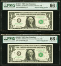 Small Size:Federal Reserve Notes, Radar Serial Number 57455475 and Repeater Serial Number 56...