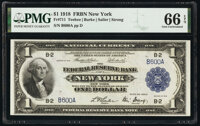 Low Serial Number B600A Fr. 711 $1 1918 Federal Reserve Bank Note PMG Gem Uncirculated 66 EPQ