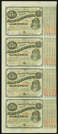 """Obsoletes By State:Louisiana, (Baton Rouge), LA- State of Louisiana """"Baby Bond"""" $5-$5-$5-$5 1874-18__ Uncut Strip of Four Crisp Uncirculated.. ..."""