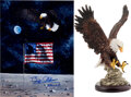 """Explorers:Space Exploration, Buzz Aldrin Signed Large """"Eagle Landing"""" Color Artwork Photo [and] Porcelain Eagle Figurine from His Office, both Originally f... (Total: 2 )"""