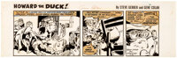 Gene Colan Howard the Duck Daily Comic Strip Original Art Dated 7-18-77 (Marvel and Tribune Syndicate, 1977)