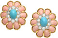 Estate Jewelry:Earrings, Coral, Turquoise, Diamond, Platinum, Gold Earrings...