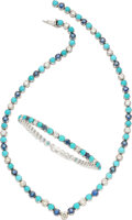 Estate Jewelry:Suites, Diamond, Sapphire, Turquoise, White Gold Jewelry Suite...